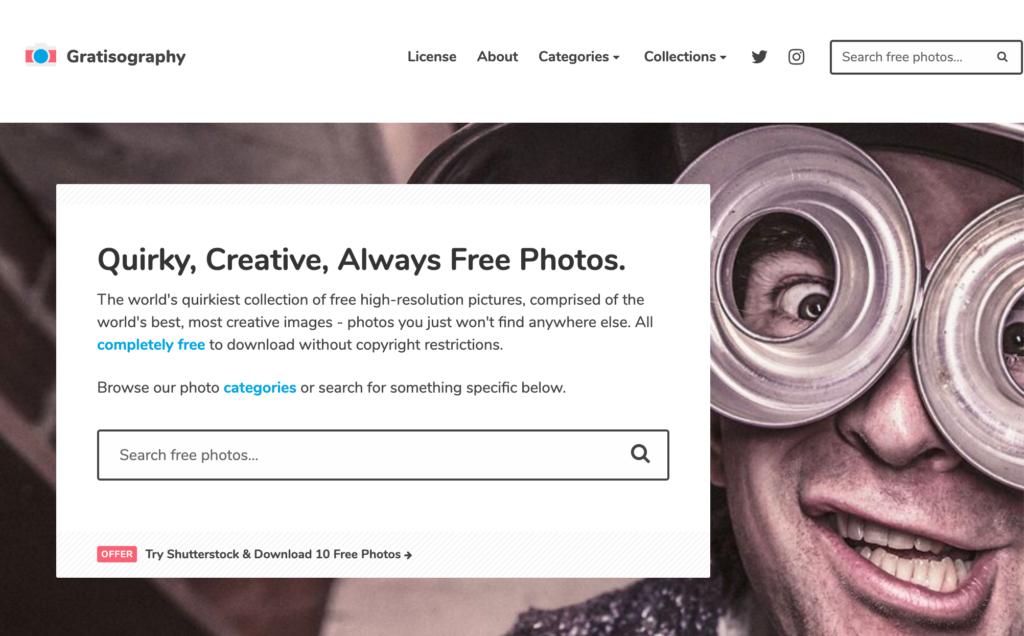 Gratisography homepage