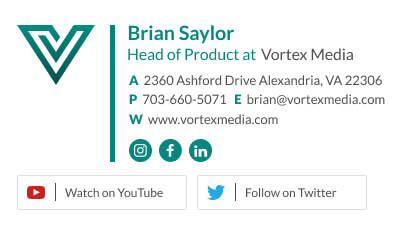 VP product email signature with brand logo and youtube and Twitter links