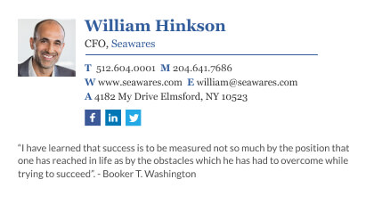 Wisestamp CFO email signature example with inspirational quote