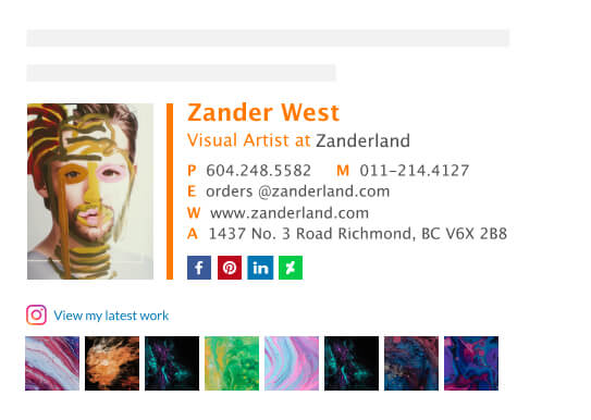 Example of artist email signature balanced use of social icons/buttons/addons