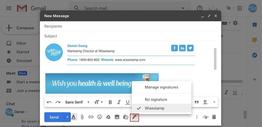 gmail email signature toolbar widget