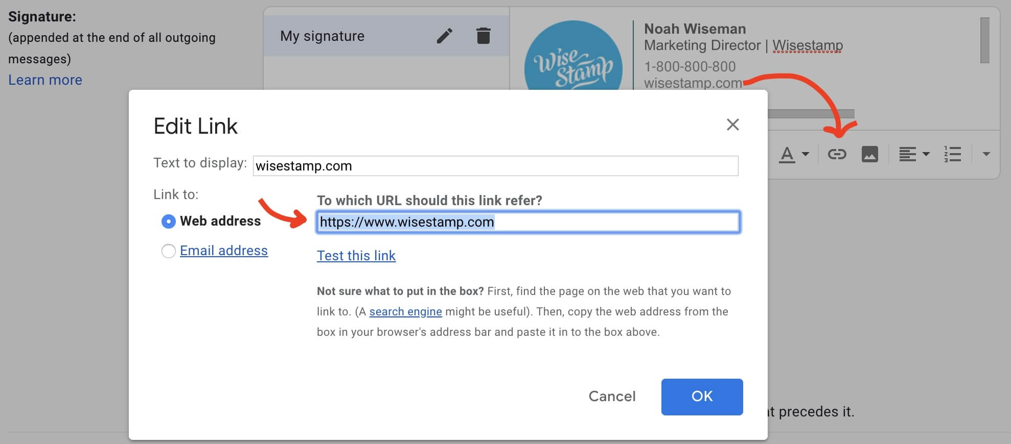 how to add a hyperlink in gmail - step 4
