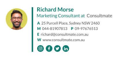 marketing consultant email signature with social media icons