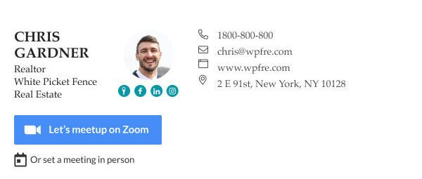 Cool way to set meetings directly from your email signature - Zoom plus scheduler buttons