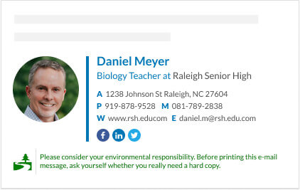 Cool way to show your values from your email signature - green footer