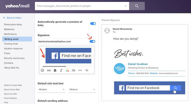 how to add a banner in Yahoo mail signature - step 3
