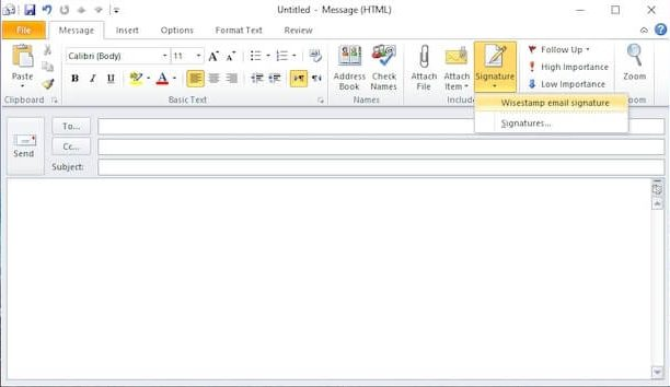 How to add multiple signatures in Outlook 2007 and 2010 - step 1
