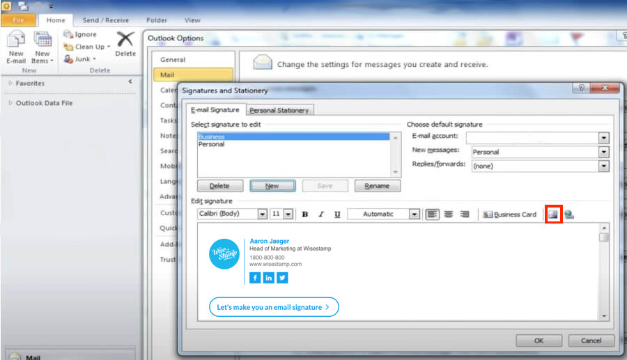 How to add an image or logo in Outlook 2007 and 2010 signature