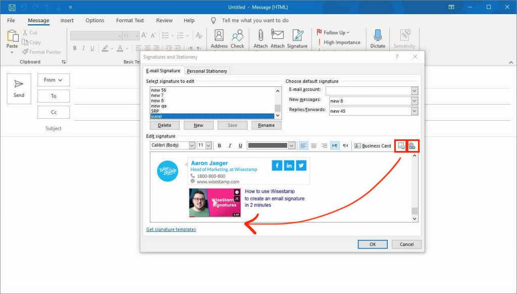 Outlook 2013 and 2016 and 2019 add video to outlook signaure