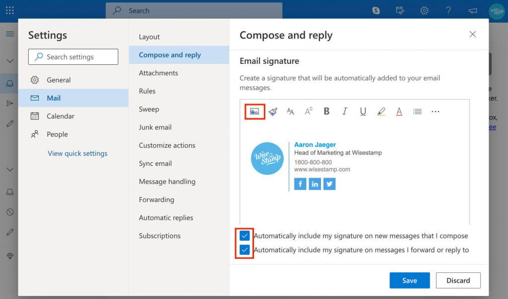 add email signature in Outlook 365 web app - add image or logo - wisestamp
