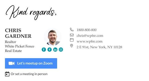 clickable Zoom video button or vCita scheduler