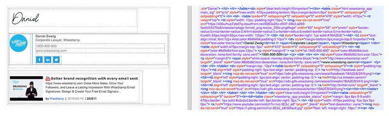 clickable html email signature by wisestamp
