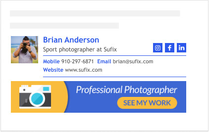 clickable signature banner with imbedded button design