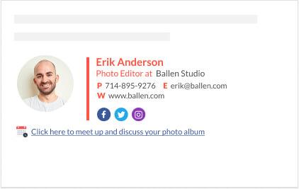great descriptive link for clickable email signature