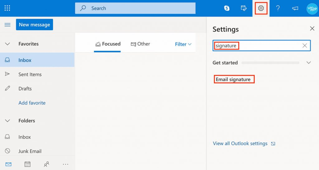 how to add Outlook email signature in 365 and Outlook web app (OWA) - search settings
