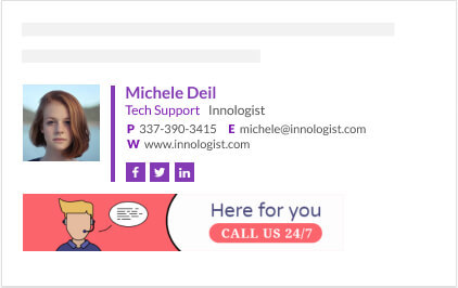 minimalist social media icons email signature with banner