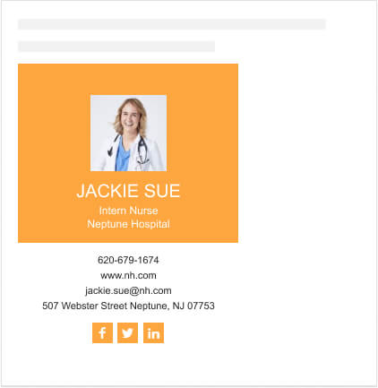 Email signature template for a nurse