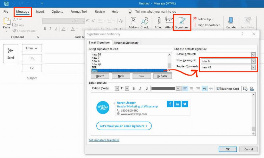 Microsoft Office Outlook auto signature