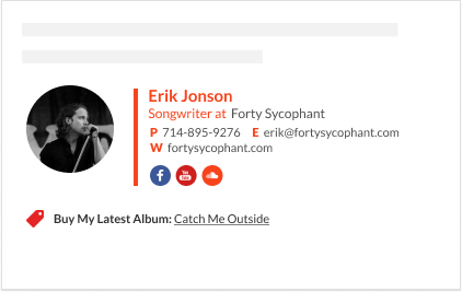 Musician and songwriter email signature footer template