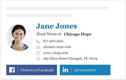 Nurse email signature with social media buttons