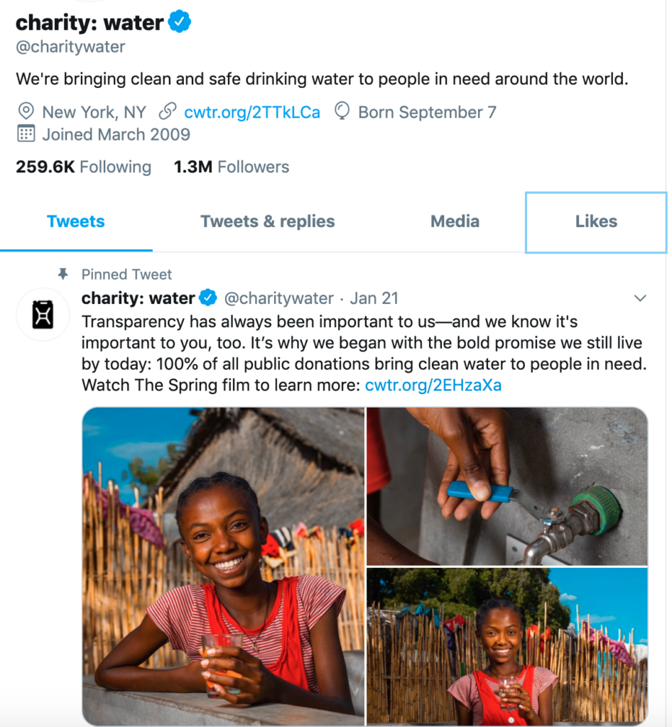 charity water facebook