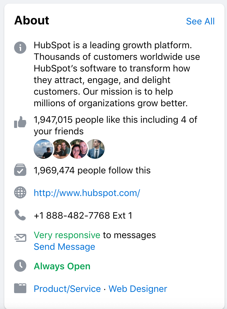 facebook example for hub-spot