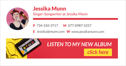 musician email signature with clickable banner