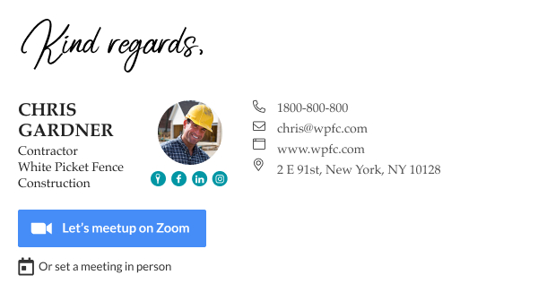 email signature for contractors with zoom button and CTA