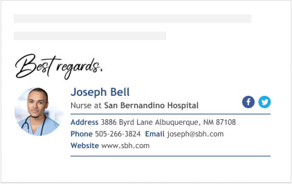 professional email signature for nurses