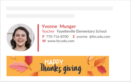 simple email signature template with thanks giving banner