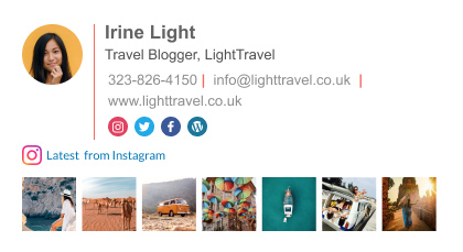 traveler blogger Outlook email signature template with instagram feed