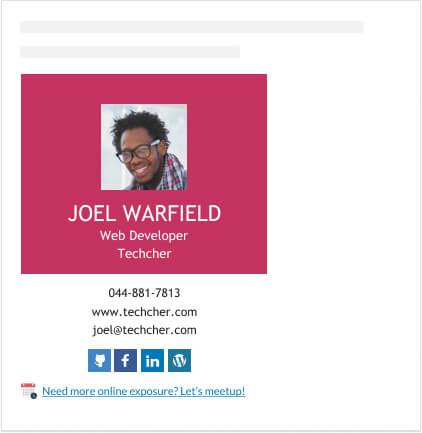 web development professor email signature