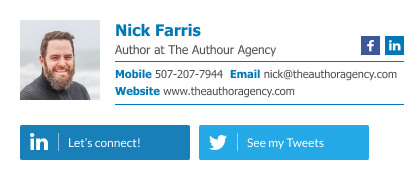 Blogger and writer email signature template with Twitter and Linkedin buttons