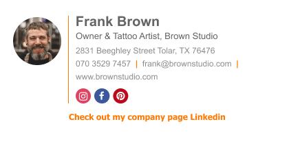 Company Linkedin profile text link email signature