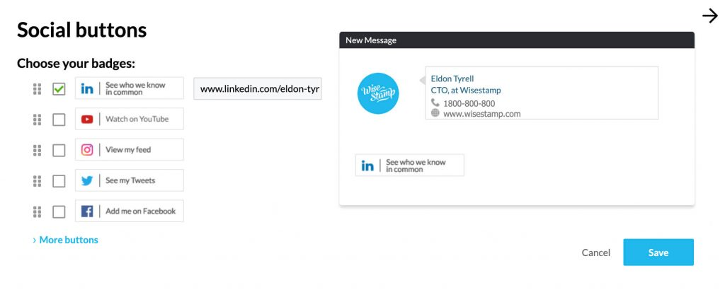 Linkedin email signature generator - by Wisestamp