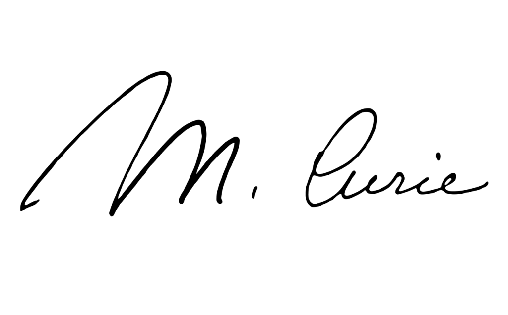 Marie Curie signature