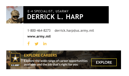 SPC military email signature with CTA banner
