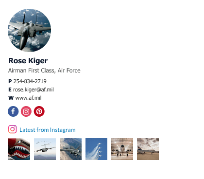 air force email signature block example with instagram gallery