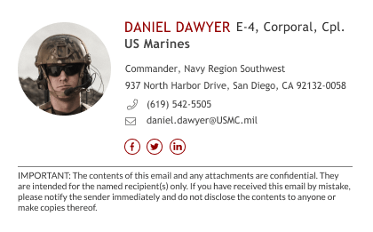 army email signature for marines with disclaimer