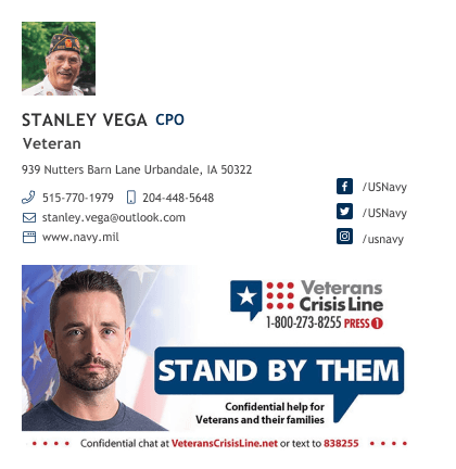 army veteran email signature block with banner