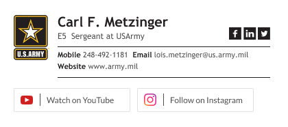 military email signature - minimal SGT signature with social media buttons