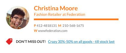 minimalist email signature design with CTA