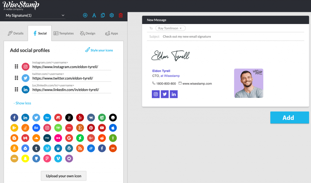 Add Instagram social media icon to email signature