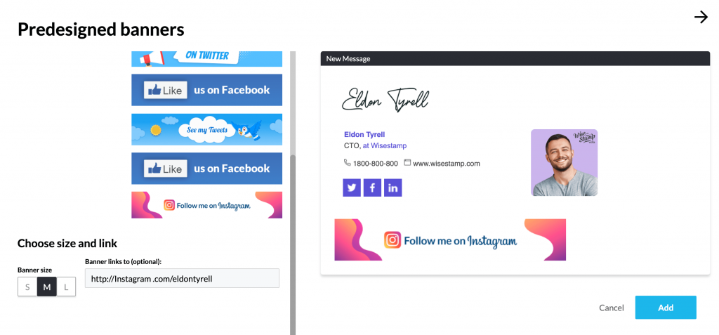 add instagram banner to email signature block