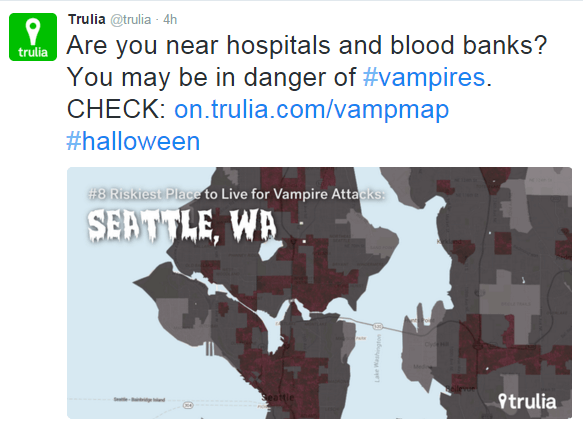 Trulia on Twitter - marketing campaign for halloween