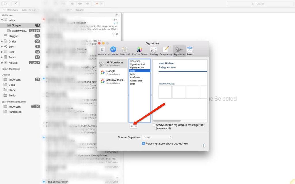 adding a mac mail signature image not attachment - step 2