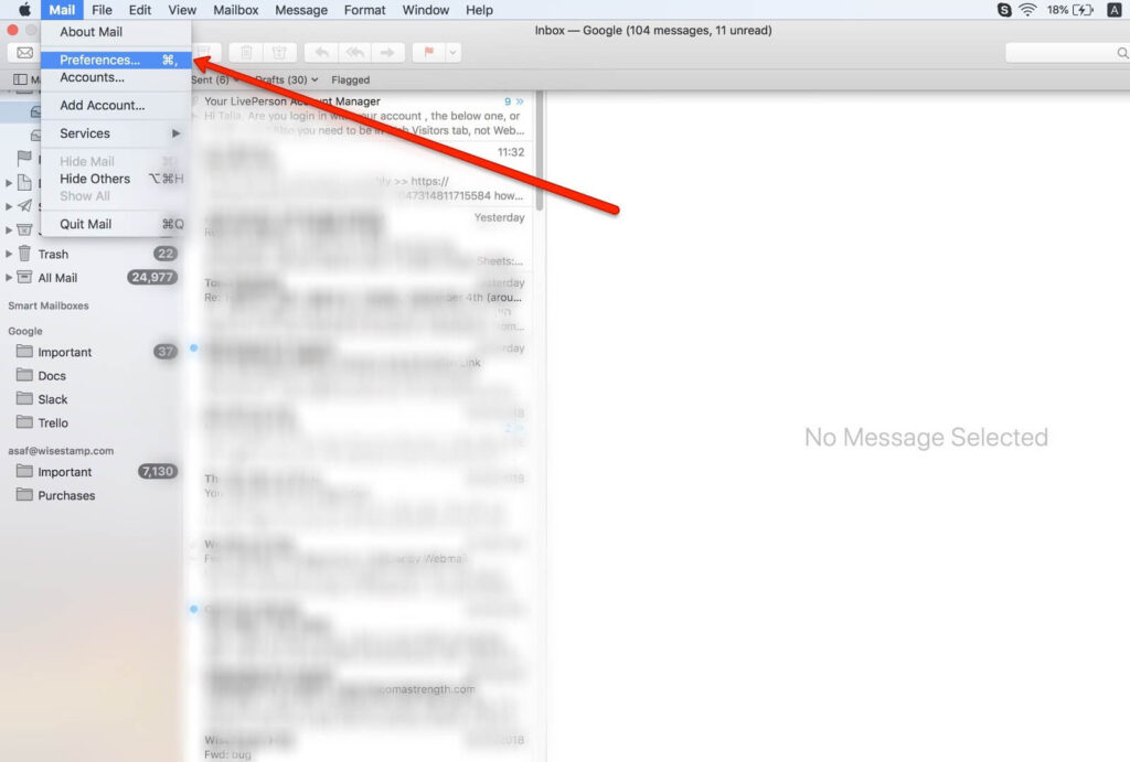 how to Add a hyperlinks to your Mac Mail signature - step 1