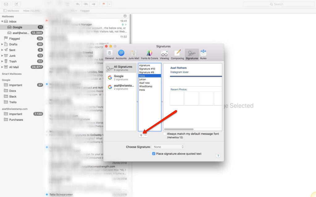 how to Add a hyperlinks to your Mac Mail signature - step 2