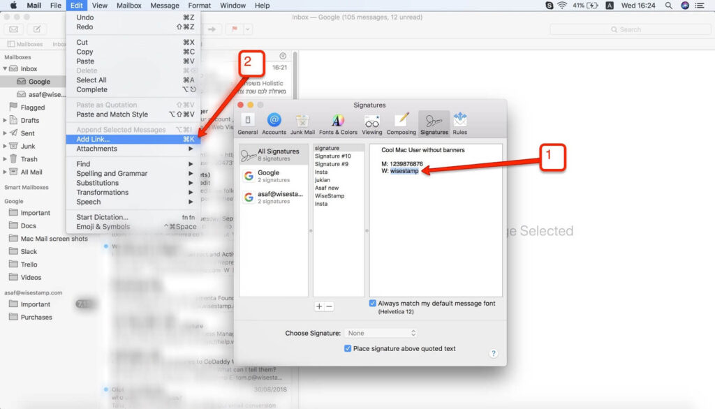 how to Add a hyperlinks to your Mac Mail signature - step 3