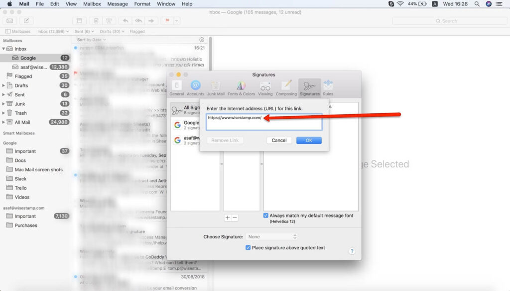 how to Add a hyperlinks to your Mac Mail signature - step 4